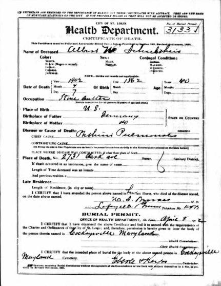 Albert Schultheis death certificate 1902